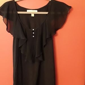Black Top with Rhinestone Buttons
